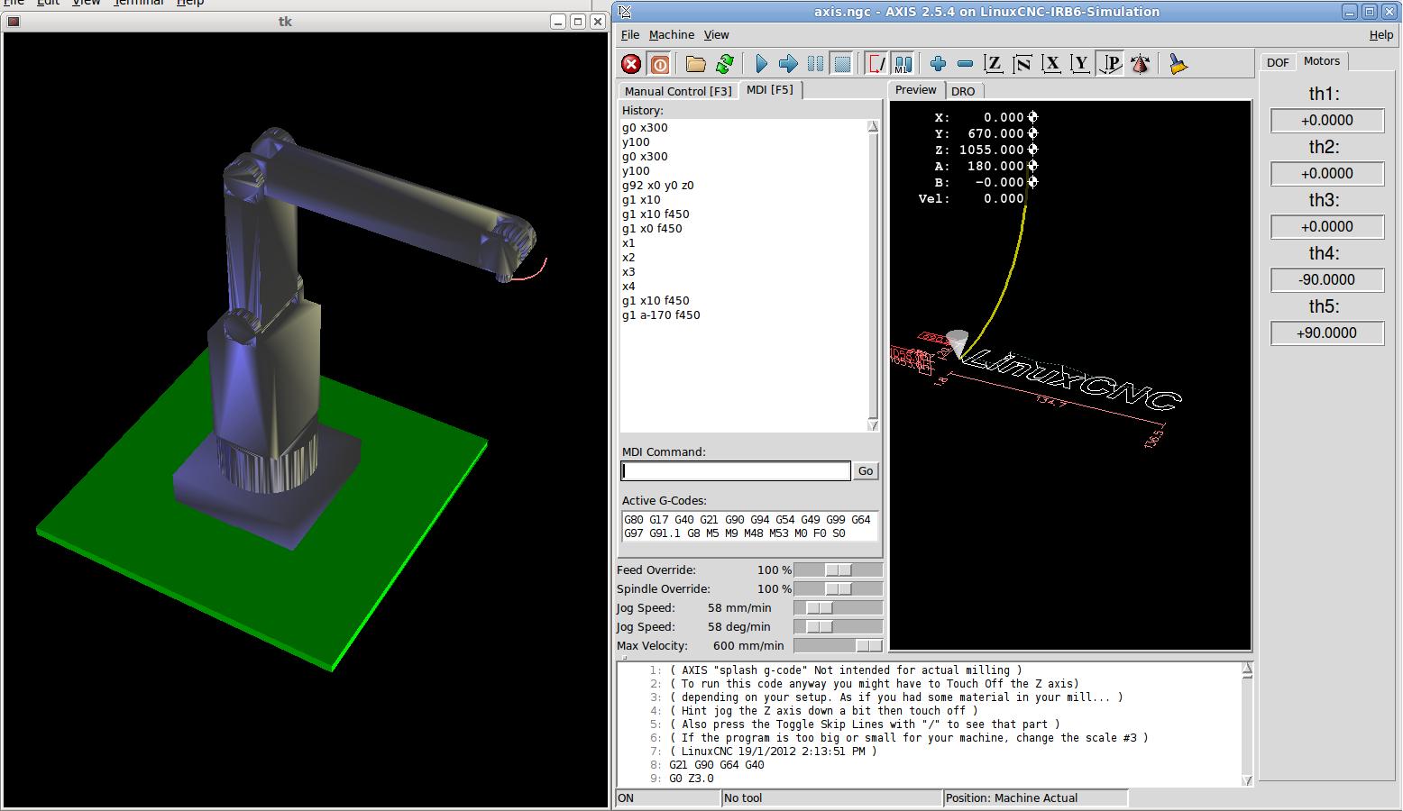 Manipulator Robot IRB6-S2 Simulation - pre - LinuxCNC