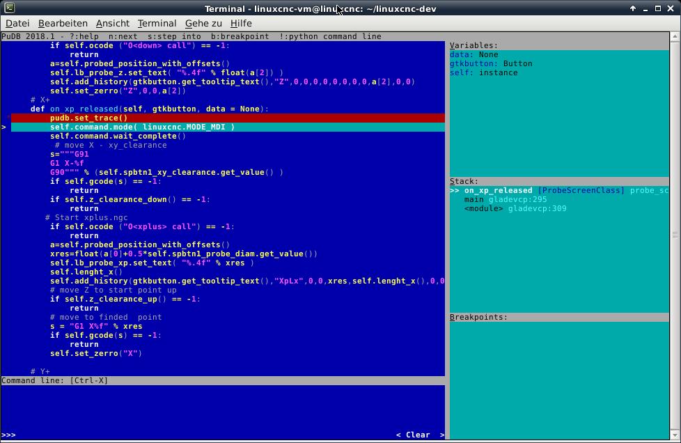 LinuxCNC pyton debugging with pycharm - LinuxCNC