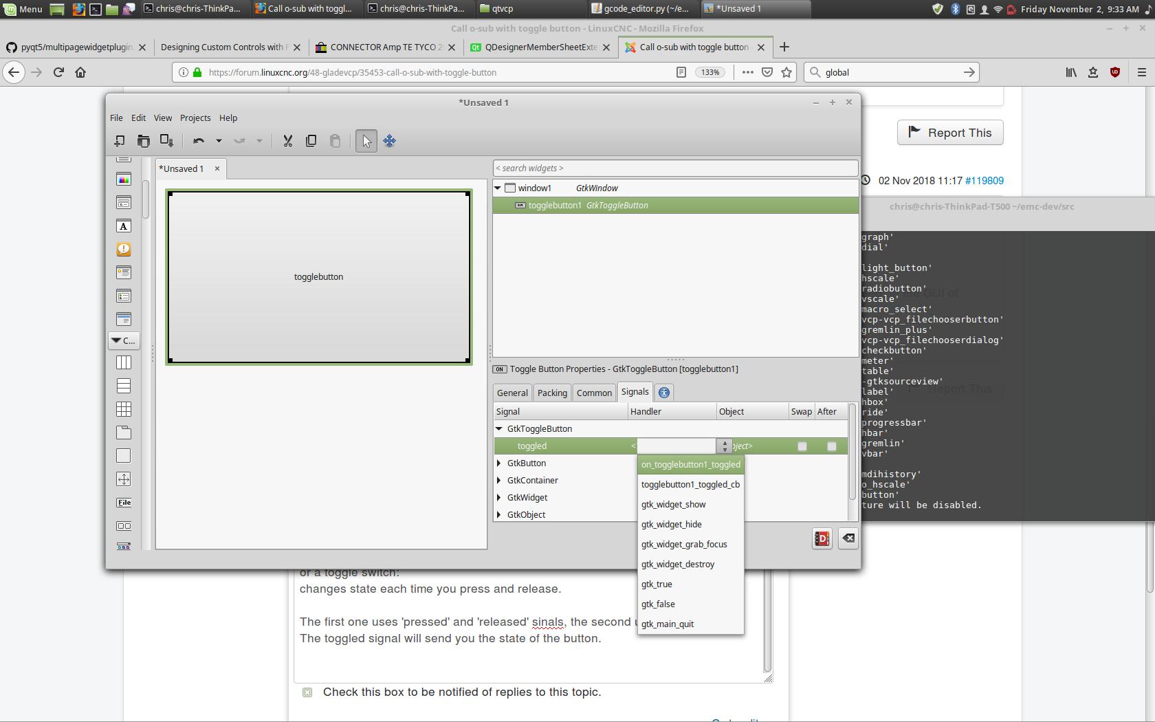 Call o-sub with toggle button - LinuxCNC